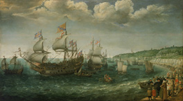 The Embarkation of the Elector Palatine in  the Prince Royal from Margate, 25 April 1613 by Adam Willaerts, 1622 © National Maritime Museum, Greenwich, UK