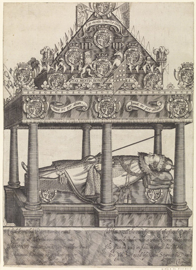 The Hearse of Henry, Prince of Wales by William Hole, 1612  The British Museum Photo: © The Trustees of the British Museum