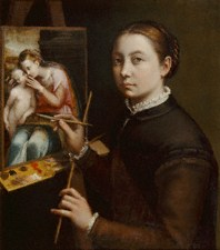 Self-Portrait at the Easel Painting a Devotional Panel by Sofonisba Anguissola, 1556 - © Muzeum-Zarnek, Lancut, Poland
