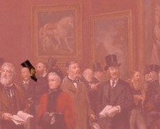 Private View of the Old Masters (enlarged detail) Exhibition, Royal Academy 1888 by Henry Jamyn Brooks, 1889