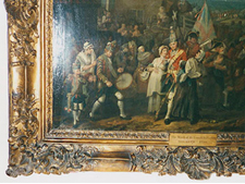Fig. 4 The March to Finchley, by William Hogarth, 1749-50, detail of frame reduced to fit picture