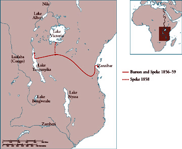 Map of the east African lakes showing the route of Burton and Speke's expedition, 1856-59
