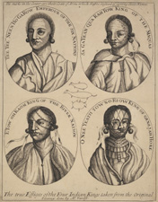 The true Effigies of the Four Indian Kings taken from the original paintings after Simon Verelst, 20 April 1710, engraving, 342 x 26mm - © The British Museum