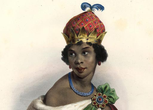 Queen Nzinga Mbande (Anna de Sousa Nzinga) detail) by Achille Devéria, printed by François Le Villain, published by Edward Bull, published by Edward Churton, after Unknown artist hand-coloured lithograph, 1830s © National Portrait Gallery, London