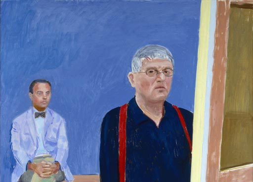 'Self-Portrait with Charlie' (David Hockney; Charles Dare Scheips) (detail) by David Hockney © David Hockney, Collection National Portrait Gallery, London