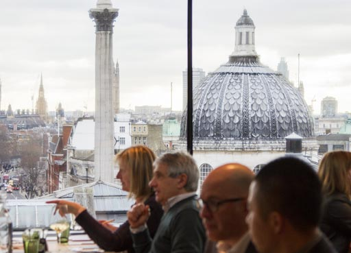 Portrait Restaurant, rooftop view with visitors dining