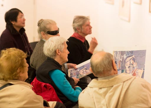 Accessible events calendar, visitors in drawing workshop